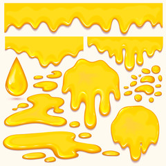 Set of orange honey drops and yellow splashes healthy syrup golden food liquid drip vector illustration.