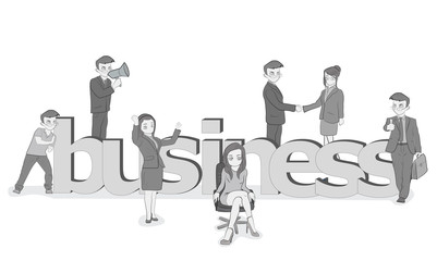 "Sketch of working small people with a big word ""business"". Hand drawn cartoon vector illustration for design and infographics."