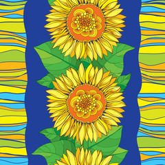 Vector seamless pattern with outline open Sunflower or Helianthus flower in yellow and leaves on the blue striped background. Floral pattern with ornate Sunflower in contour style for summer design.