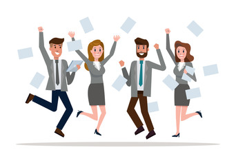 Business team jumping celebrating success. Victory and teamwork concept. flat design elements. vector illustration