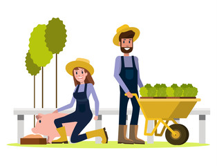 Couple of  Farmers. flat character design. vector illustration