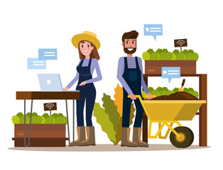 Modern farmer using tablet in greenhouse. Smart agriculture farming and internet of thing concept. flat design elements. vector illustration