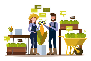 Modern farmer using smartphone  in greenhouse. Smart agriculture farming and internet of thing concept. flat design elements. vector illustration