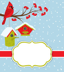 Vector Christmas and New Year Card Template with Cardinal, Birdhouses and Red Berries on Snow Background. Card template for Christmas and New Year. Vector Cardinal.