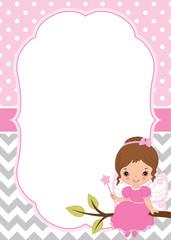 Vector Card Template with Cute Little Fairy on Polka Dot and Chevron Background. Vector Fairy.  Vector illustration.