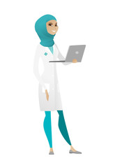 Doctor using laptop vector illustration.