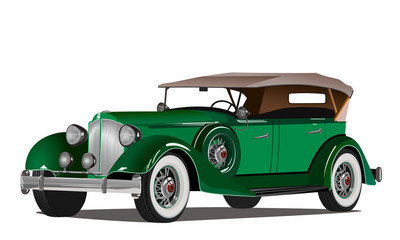Retro luxury green car