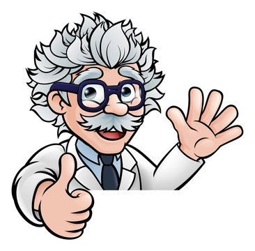 Generic scientist Cartoon Character Sign Thumbs Up