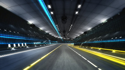 empty city highway tunnel with spotlights