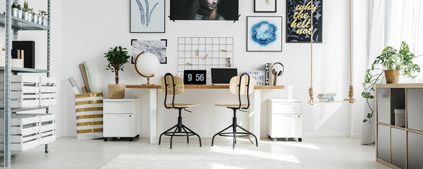 Double desk at home office