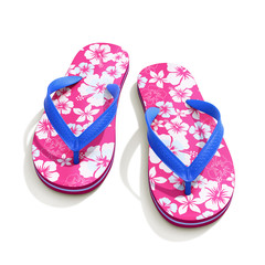 Hawaii style pattern flip flops - front view
