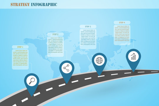 Strategy infographics design with business icons on the road map