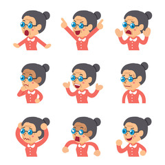 Set of cartoon senior woman faces showing different emotions