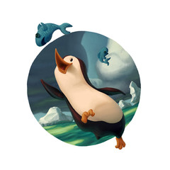 Penguin chasing fish