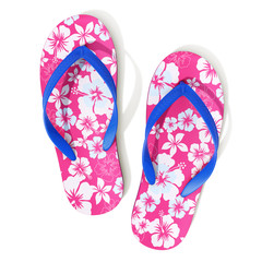 Hawaii style pattern flip flops - top view