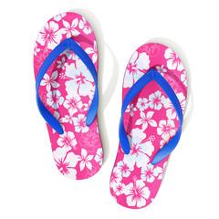 Hawaii style pattern flip flops - top view