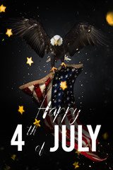 Wall Mural - American feast 4th of July. Bald Eagle with American flag