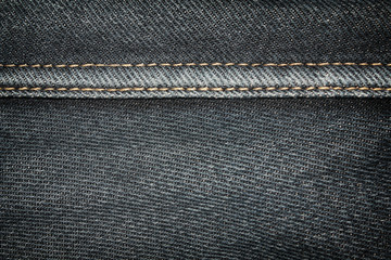 Gray denim jeans texture background with seams,close up,select focus with shallow depth of field
