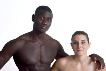 Portrait of a couple on white background