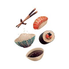 Sushi rice, sticks, roll, soy sauce and nigiri