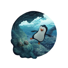 Penguin swimming and diving