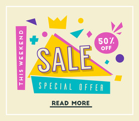 Sale banner. Bright and retro style. Cartoon vector illustration.