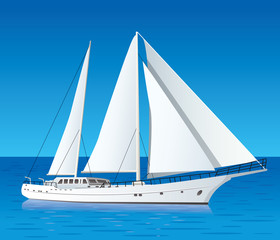 sailing luxury yacht in the sea