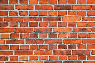 Background of red brick wall texture.