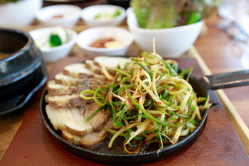 Boiled pork with salad, Bossam - Korean cuisine