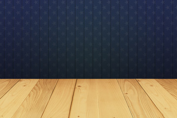 star skin wood and table background in 4th july concept