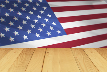america flag and wood table background in 4th july concept