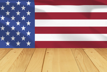 america flag and wood desk background in 4th july concept