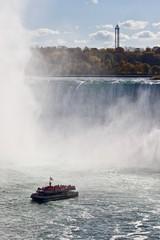 Beautiful photo of amazing Niagara waterfall and a ship