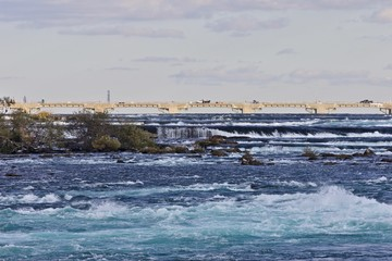 Beautiful postcard with amazing powerful Niagara river