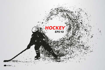 Hockey from the particles. Silhouette of a hockey player consists of circles and points. Vector illustration.