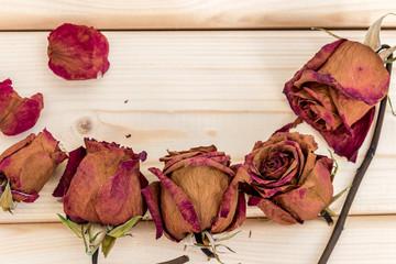 Букет из сухих цветов на деревянном фоне. Открытка, фон с местом для надписи. Сухие розы как украшение.