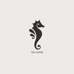 Stylized graphic Seahorse. Silhouette illustration of sea life. Sketch for tattoo on isolated white background. Vector flat logo icon
