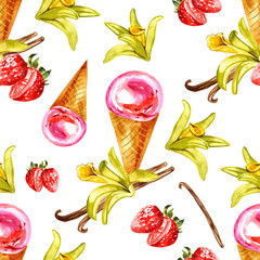 Watercolor illustration of vanilla and strawberry ice cream. Seamless pattern