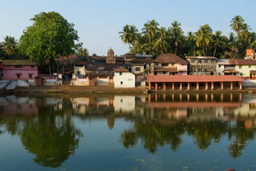 Sacred lake in southern India. Place of ablution and meditation