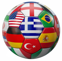 International Football Illustration with Greece Flag in the Middle