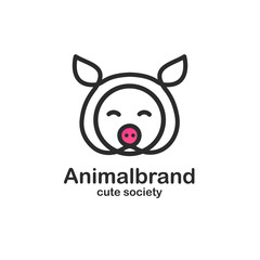 Black color logo design template with animal head. Cute pig snout for sign farm pet shop. Symbol in a linear style with the silhouette of the piggy.  Vector.