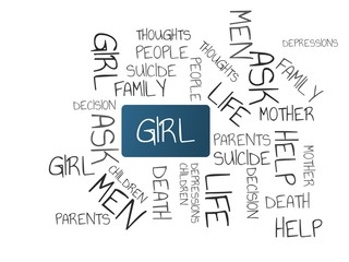 GIRL - image with words associated with the topic SUICIDE, word cloud, cube, letter, image, illustration
