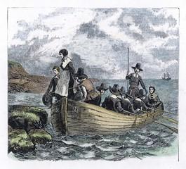 Pilgrim Fathers arrive in America.. Date: December 1620