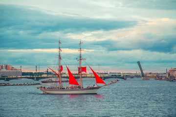 Celebration Scarlet Sails show during the White Nights,  St. Petersburg, Russia.