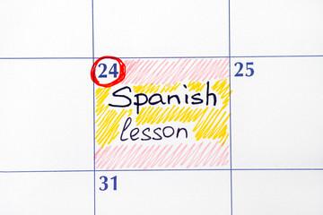 Reminder Spanish lesson in calendar.