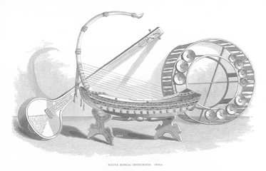 Indian Music Instruments. Date: 1851