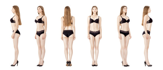 collage of young slender woman in black lingerie isolated on white background. Model snapshots