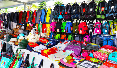 Colorful Street Market, selling bargain low price items. Halong Bay, Vietnam. Many are counterfeits.