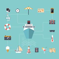 Flat design icons, cruise holidays background