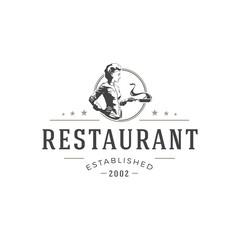 Restaurant logo template vector object for logotype or badge Design.